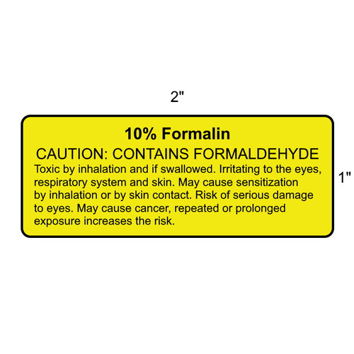 Yellow 10% Formalin Labels 1000/RL