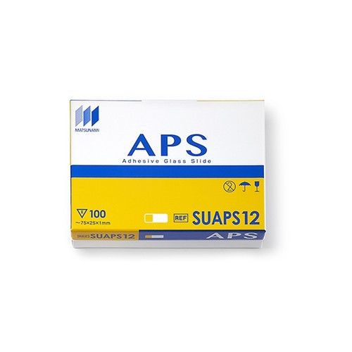 Matsunami APS Adhesion Slides, Yellow