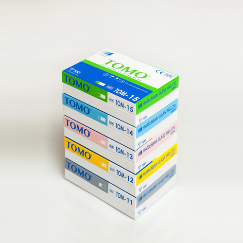 Matsunami TOMO and APS Adhesion Slides, Yellow, Blue, Green, Pink, White