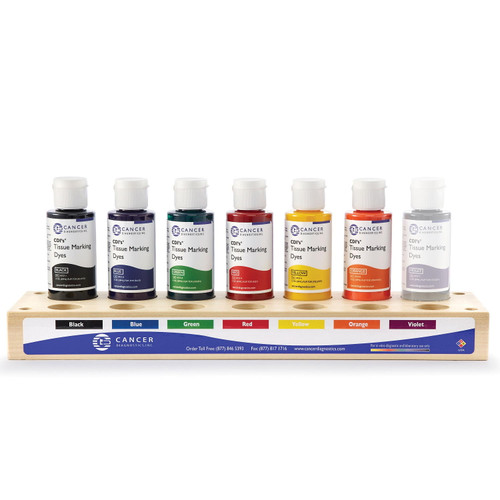 Cancer Diagnostics Tissue Marking Dye Kit, 6 color, Wood Tray