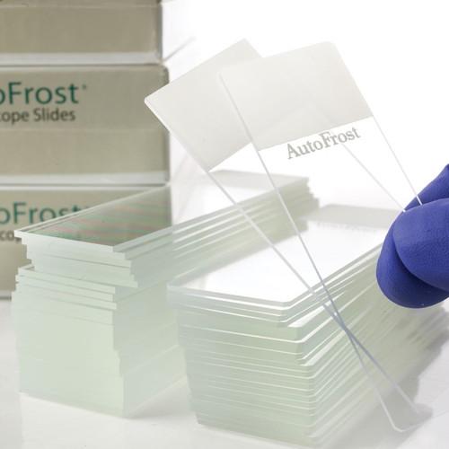 Closeup of AutoFrost® Microscope Slides, Clipped Corner